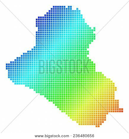 Spectrum Dotted Pixel Iraq Map. Vector Geographic Map In Bright Colors On A White Background. Spectr