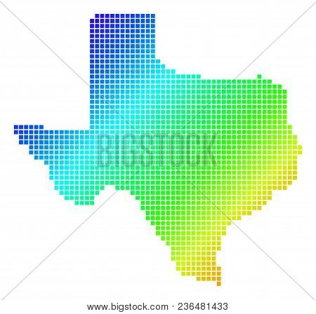 Spectrum Dotted Pixel Texas Map. Vector Geographic Map In Bright Colors On A White Background. Spect