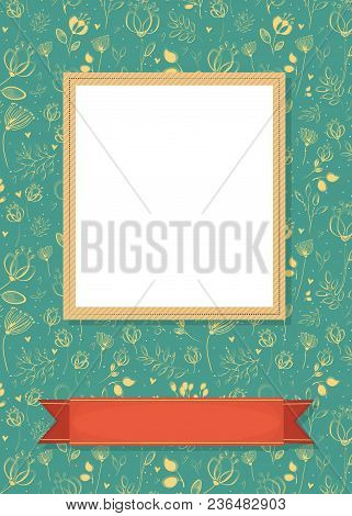 Floral Greeting Card. Graceful Flowers And Plants With Drawing Effect. Yellow Frame For Custom Photo