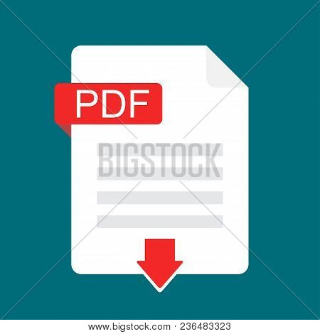 Download Pdf Icon. File With Pdf Label And Down Arrow Sign. Downloading Document Concept. Flat Desig