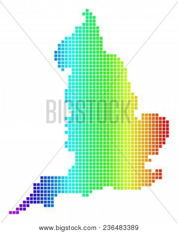 Dot Spectrum Pixel England Map. Vector Geographic Map In Bright Colors On A White Background. Spectr