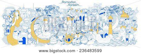 Illustration Of Eid Mubarak Happy Eid Background For Islam Religious Festival On Holy Month Of Ramaz
