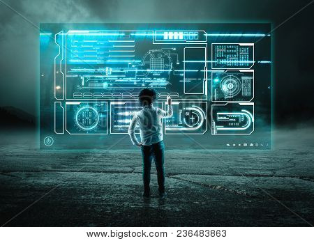 Young Businessman Using Digital Screen Hologram Outside