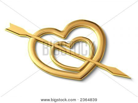 Two Gold Hearts Punched By An Arrow