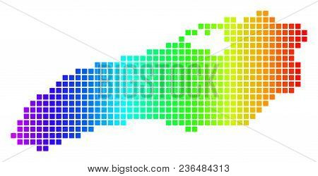 Spectrum Dotted Pixel Ontario Lake Map. Vector Geographic Map In Bright Colors On A White Background