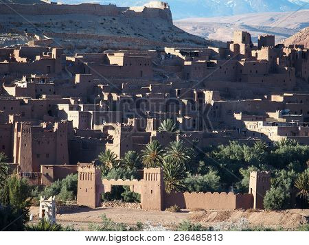 Kasbah Ait Ben Haddou Or Benhaddou Fortified City With Green Exotic Palm Trees At Oasis On African A