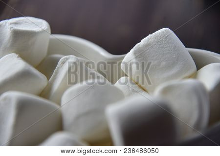 Fluffy White Marshmallow Close Up Macro Details