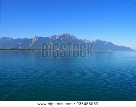 Scenery Of Beautiful Alpine Lake Geneva Landscapes Seen From Chateau De Chillon In Montreux City In