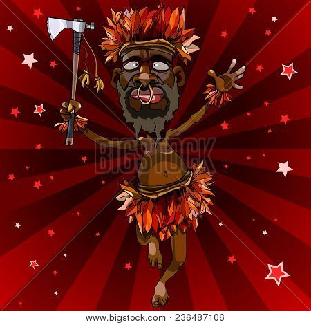 Cartoon Man Dances In An Aboriginal Costume With An Ax On Red Background With Stars