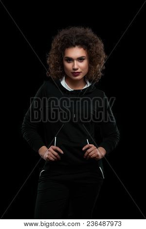 Charismatic Model Wearing Fashionable Stylish Black Jacket. Having Modern Hairstyle With Many Little