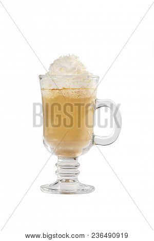 Single-color opaque cocktail, coffee with milk, cocoa, hot chocolate in a tall glass with a handle with whipped cream. Side view. Isolated white background. Drink for the menu restaurant, bar, cafe poster