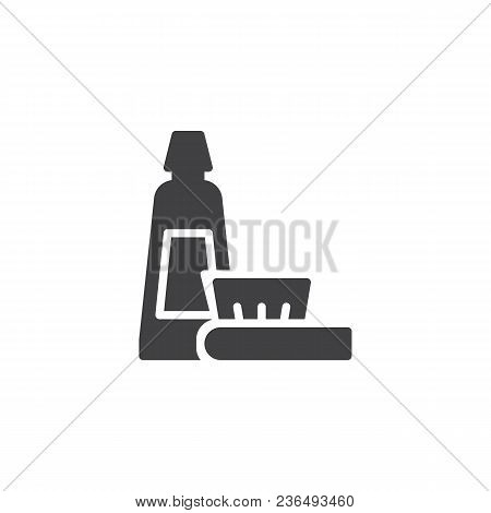 Toothbrush And Toothpaste Vector Icon. Filled Flat Sign For Mobile Concept And Web Design. Oral Hygi