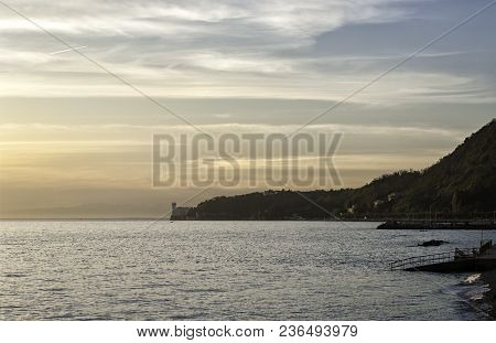 View Of The Romantic Gulf Of Trieste And The Beautiful Miramare Castle At Sunset. Miramare Castle Is