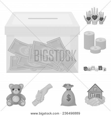 Charity And Donation Monochrome Icons In Set Collection For Design. Material Aid Vector Symbol Stock
