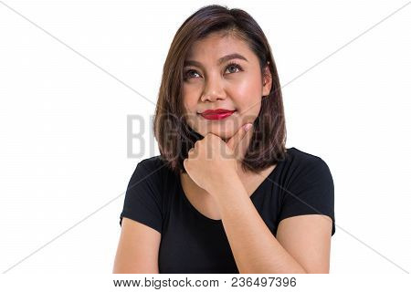 Beautiful Asian Woman With One Hand Touching Chin For Thinking Action, Thoughtful And Idea Concept,