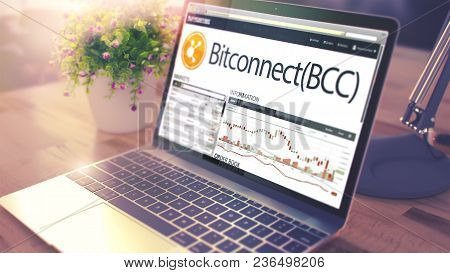 Modern Workplace With Ultrabook Showing Web Page With Cryptocurrency Exchange Of Bitconnect - Bcc. T