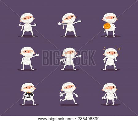 Mummy Halloween Set Child In Mummy Costume Trick Or Treat Collection Of Emotional Characters For Fes