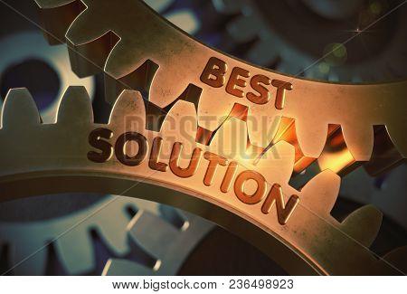 Best Solution - Industrial Design. Golden Metallic Cogwheels With Best Solution Concept. 3d Renderin