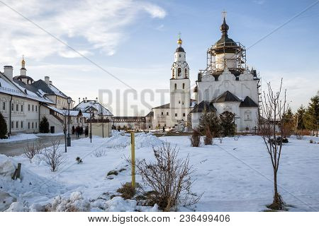 Sviyazhsk, Russia - January 05, 2018: People Visit Assumption Monastery In Winter Day