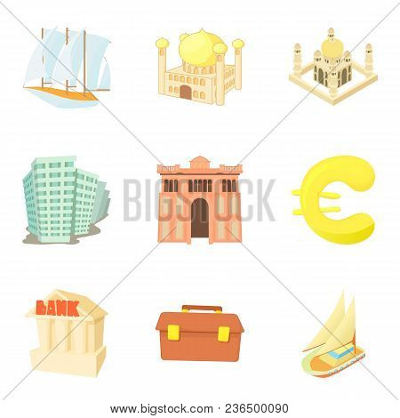Monetary Value Icons Set. Cartoon Set Of 9 Monetary Value Vector Icons For Web Isolated On White Bac