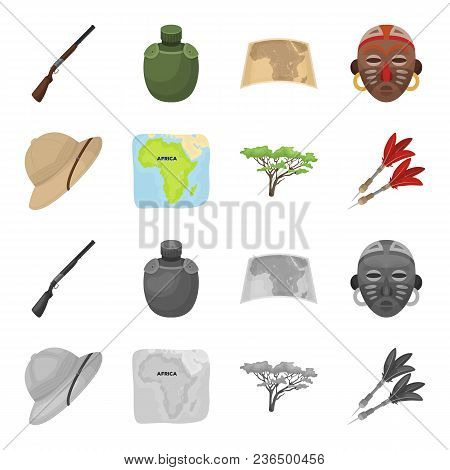 Cork Hat, Darts, Savannah Tree, Territory Map. African Safari Set Collection Icons In Cartoon, Monoc