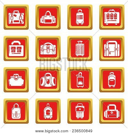 Bag Baggage Suitcase Icons Set Vector Red Square Isolated On White Background