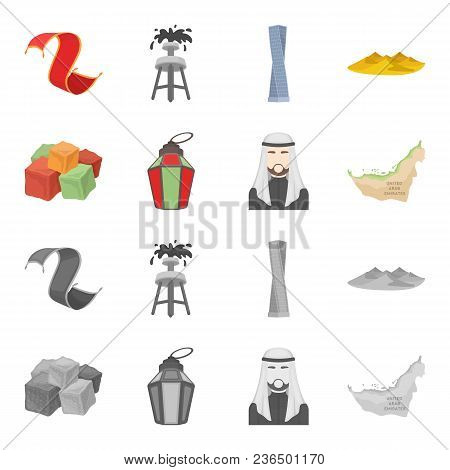 Eastern Sweets, Ramadan Lamp, Arab Sheikh, Territory.arab Emirates Set Collection Icons In Cartoon,