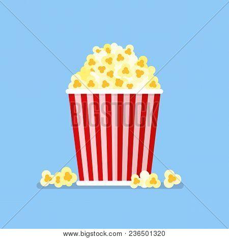 Popcorn Snack In Flat Style. Vector Illustration