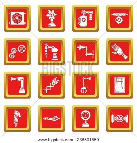 Technical Mechanisms Icons Set Vector Red Square Isolated On White Background