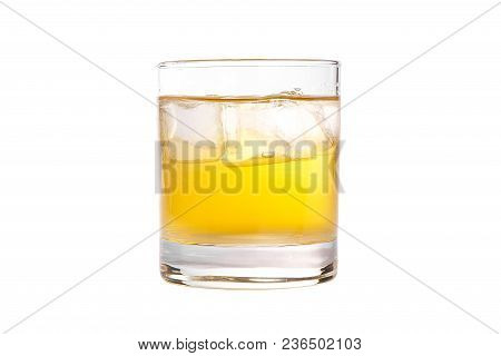 Single-colored Transparent Cocktail, Refreshing In A Low Glass With Ice Cubes, Beer, Taste Of Melon,