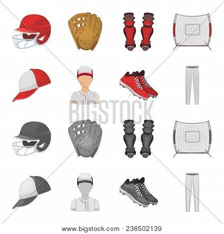 Baseball Cap, Player And Other Accessories. Baseball Set Collection Icons In Cartoon, Monochrome Sty