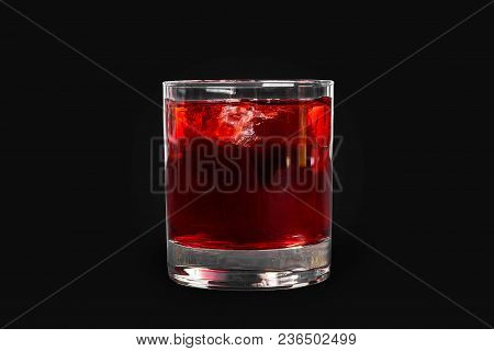 Single-color Transparent Cocktail, Refreshing In A Low Glass With Ice Cubes With Taste Of Berries, C