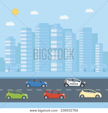 Police Patrol On A Road With Police Car, House, Nature Landscape. Vehicle With Rooftop Flashing Ligh