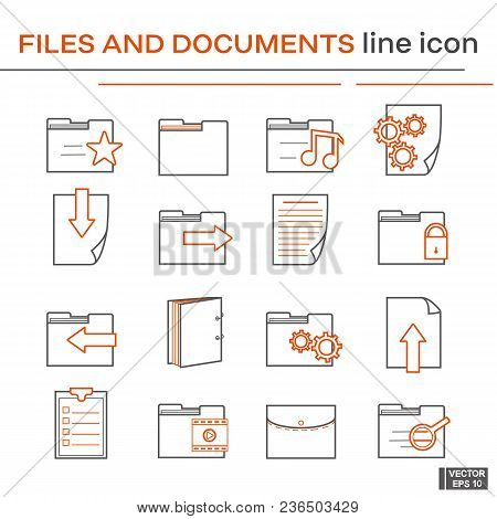 Vector Image. Set Of Line Icons On The Theme Of Files And Document. Black And Red Outline Sign.