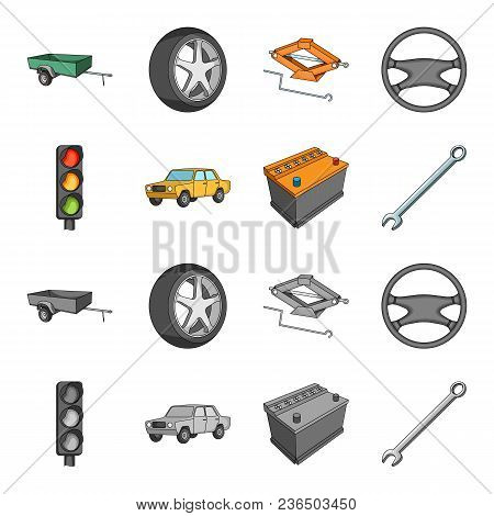 Traffic Light, Old Car, Battery, Wrench, Car Set Collection Icons In Cartoon, Monochrome Style Vecto