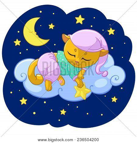Kitty Dream Sleeping Cartoon Vector Illustration For Kid T-shirt Print Design Template. Cute Kitten