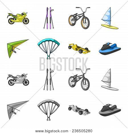 Hang Glider, Parachute, Racing Car, Water Scooter.extreme Sport Set Collection Icons In Cartoon, Mon