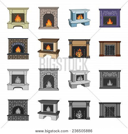 Fire, Warmth And Comfort.fireplace Set Collection Icons In Cartoon, Monochrome Style Vector Symbol S