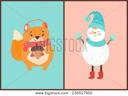 Happy Squirrel And Snowman Icons On Blue And Pink Background. Vector Illustration With Snowman And A