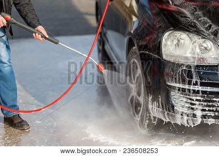 Car Without Touch Washing Self-service. Wash With Water And Foam.