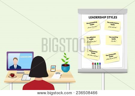 Woman Is Educating In Leadership Skills By A Man Communicating With Her From A Pc Mionitor Standing