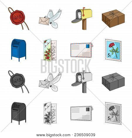 Mailbox, Congratulatory Card, Postage Stamp, Envelope.mail And Postman Set Collection Icons In Carto