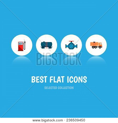 Icon Flat Fuel Set Of Gas Station, Tanker, Truck And Other Vector Objects. Also Includes Van, Oil, P