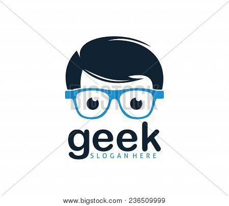 Cool Geek Guy Nerd Vector Logo Design