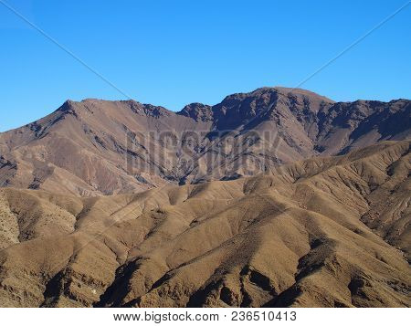 High Atlas Mountains Range Landscapes In Morocco Seen From Location Near Tizi-n-tichka Pass In Centr