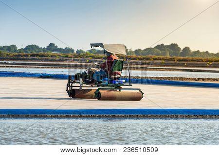 Salt Farm With Salt Roller Car In Salt Field.