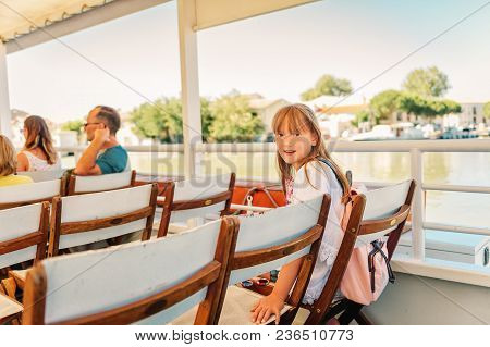 Family On Summer Vacation, Boat Trip In Aigues-mortes, Camargue, France