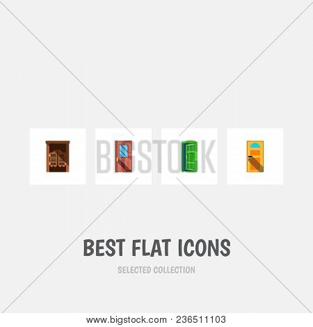 Icon Flat Door Set Of Entrance, Western Wooden, Approach And Other  Objects. Also Includes Door, Exi