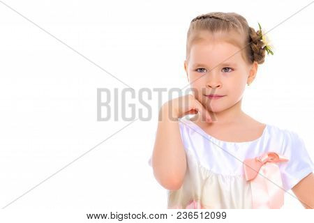 The Little Girl Folded Her Hands Around Her Face.