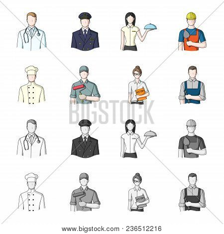 Cook, Painter, Teacher, Locksmith Mechanic.profession Set Collection Icons In Cartoon, Monochrome St